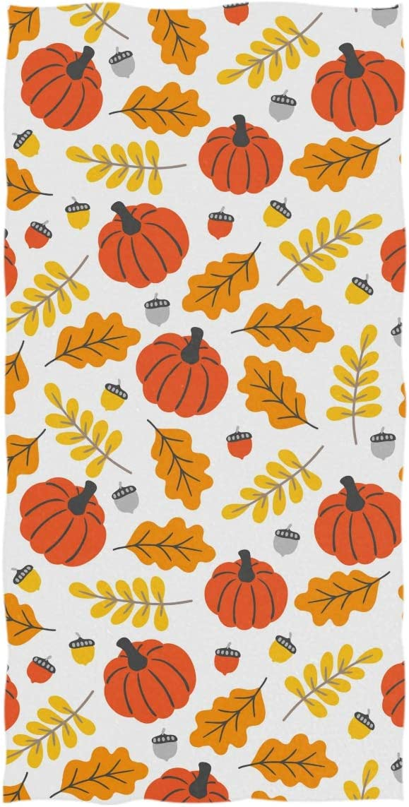 Fall Autumn Pumpkin Leaves Thanksgiving Hand Towels 16x30 in Rustic Floral Thin Bathroom Towel Autumn Harvest Ultra Soft Highly Absorbent Small Bath Towel Bathroom Give Thanks Decor Gifts