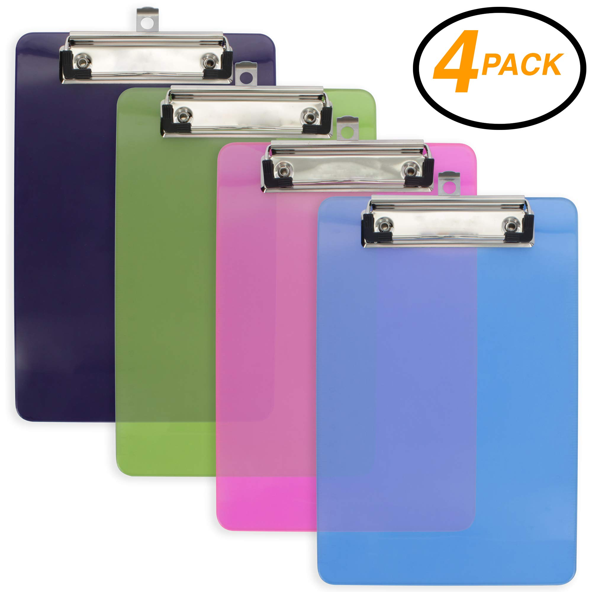 Emraw Plastic Clipboard Translucent Small Memo Pad Size Hardboard (6'' x 9'') Sturdy Durable Low Profile Clip with Hanging Loop for Home, Offices, Schools, Hospitals - 4 Pack