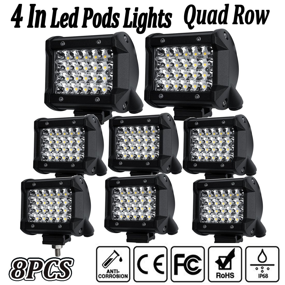 10LEDs - 60W LED Pod Lights,4Inch 2PCS LED Flood Lights LED Pods Work Light Bar Driving Fog Lights Spot Beam Super Bright Cubes Lights Off-road Jeep Truck Boat ATV SUV