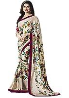 Lajree Designer Chiffon Saree (_Beige_Free Size )