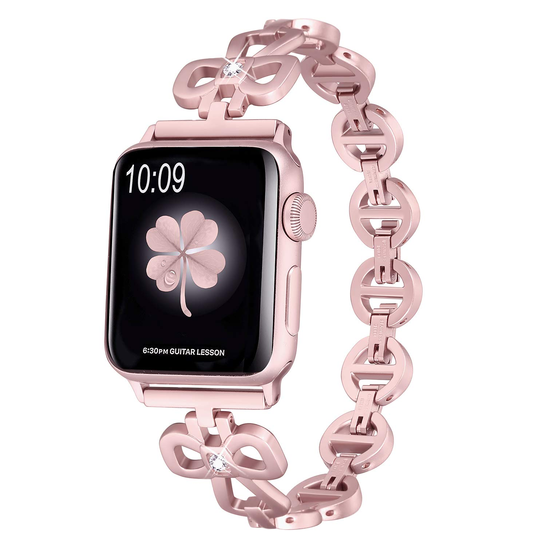 Secbolt Stainless Steel Bands Compatible Apple Watch Band 38mm 40mm iWatch Series 4, Series 3, Series 2, Series 1, Shamrock Link with Diamond Women Girls, Rose Gold