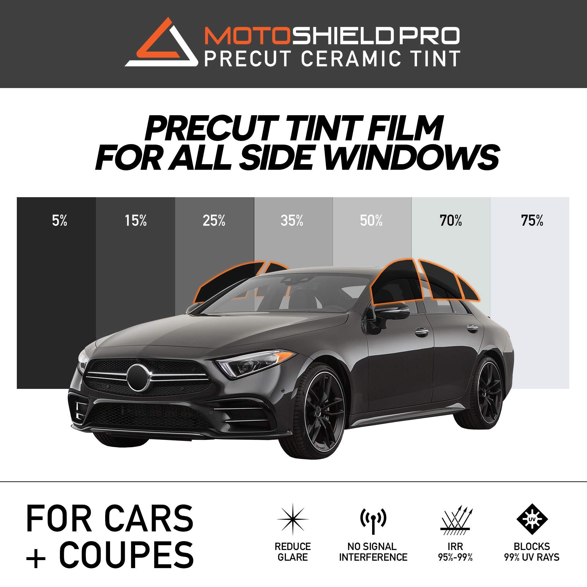 MotoShield Pro Precut Ceramic Tint Film [Blocks Up to 99% of UV/IRR Rays] Window Tint for Cars, Coupes - All Side Windows, Any Tint Shade by MotoShield Pro