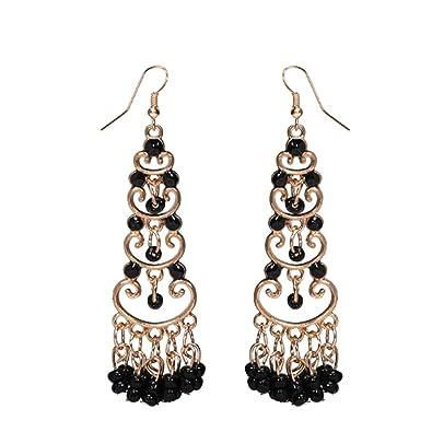 7c6ddd87657fd7 Fashion Trendy Long Metal Hanging Earrings for Women / AZESEB002 (Black)