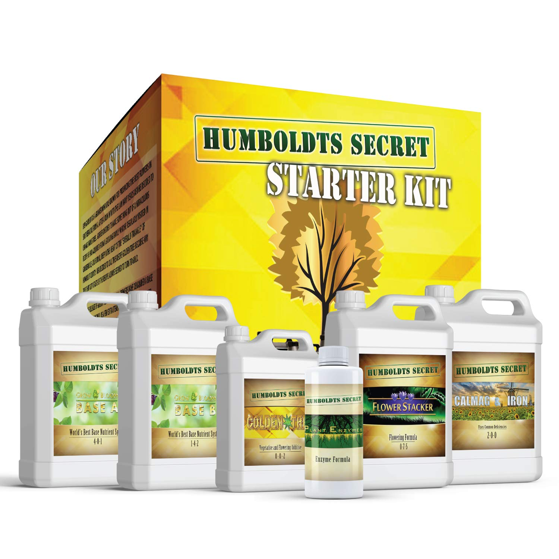 Humboldts Secret Starter Kit Pack - World's Best Indoor & Outdoor Plant Fertilizer and Nutrient System: Base A & B - Golden Tree - Flower Stacker - Plant Enzymes - CalMag & Iron by Humboldts Secret