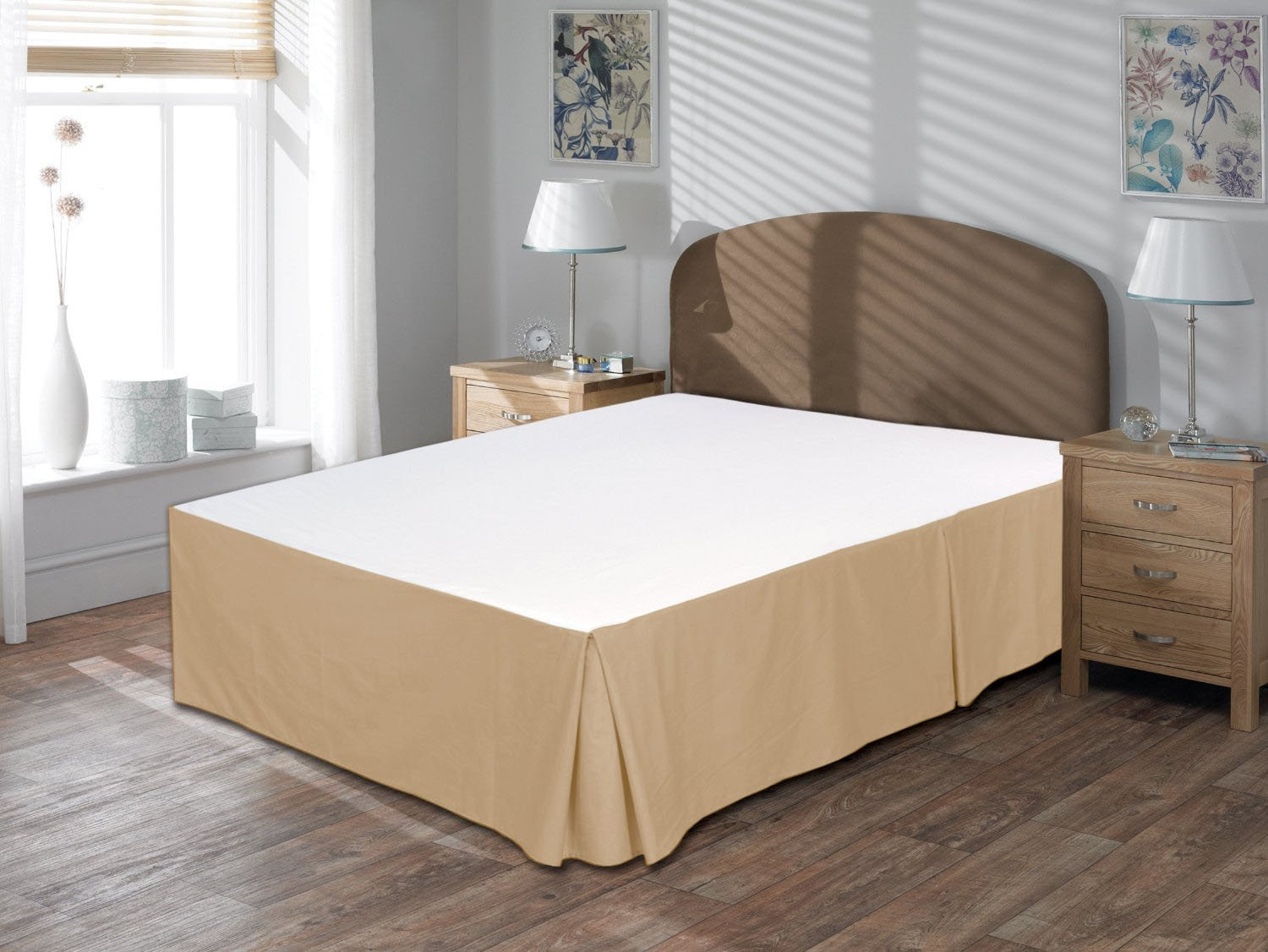 Lushness_Linen Hotel Collection 800TC Bedskirt 21'' Drop Length 100% Egyptian Cotton Queen Size Taupe Solid