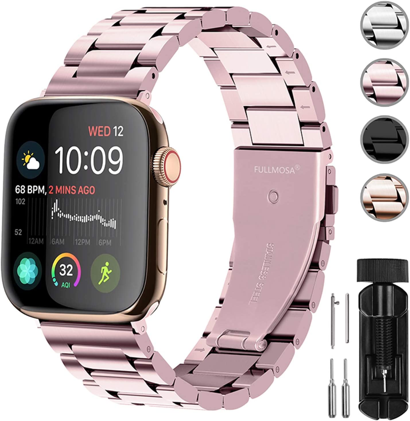 Fullmosa Compatible Apple Watch Band 38mm 40mm 42mm 44mm, Stainless Steel Metal for Apple Watch Bands, 38mm 40mm Rose Pink