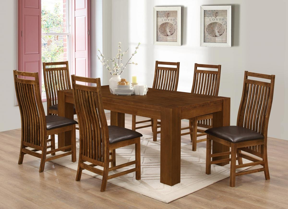 Yaxley dining set with 6 chairs rustic oak solid rubberwood rustic oak 1800w x 1000d x 740h 140mm leg 6 chairs dark brown pu seat pads