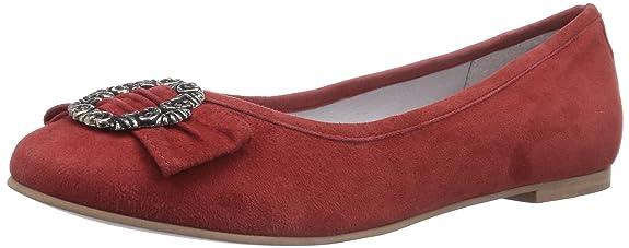 Bergheimer Trachtenschuhe Christl - Bailarinas Cerradas de Cuero Mujer, Color Rojo, Talla 40