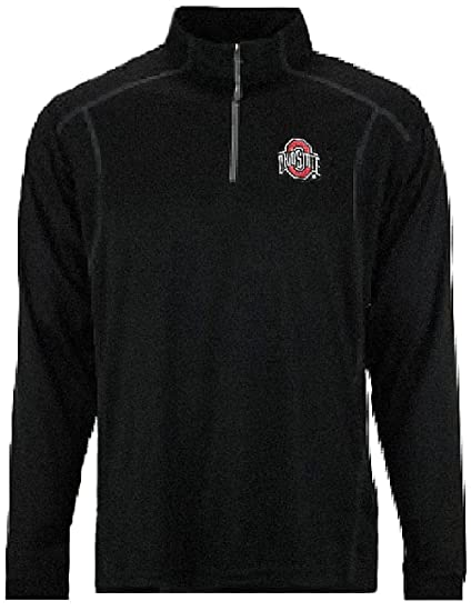 095e9dfbc96 J.America Ohio State Buckeyes Mens Black TriSoft Synthetic Quarter Zip  Pullover Top (Medium