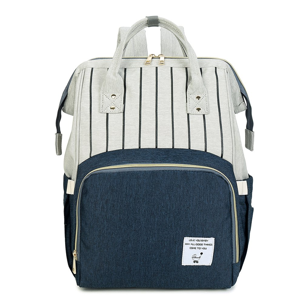 Large Capacity Mummy Backpack Striped Diaper Bag (Blue)