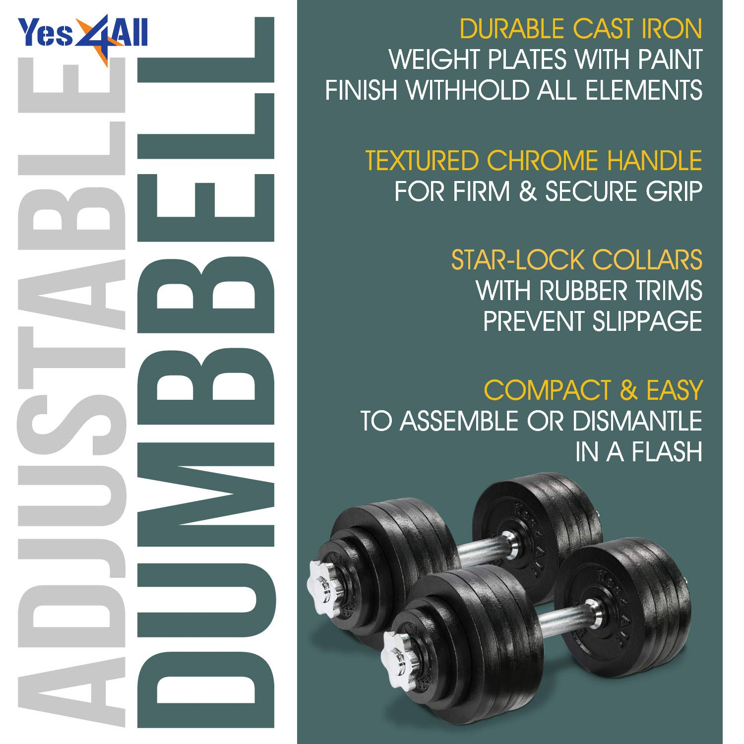 Yes4All Adjustable Dumbbells - 105 lb Dumbbell Weights (Pair) by Yes4All (Image #5)