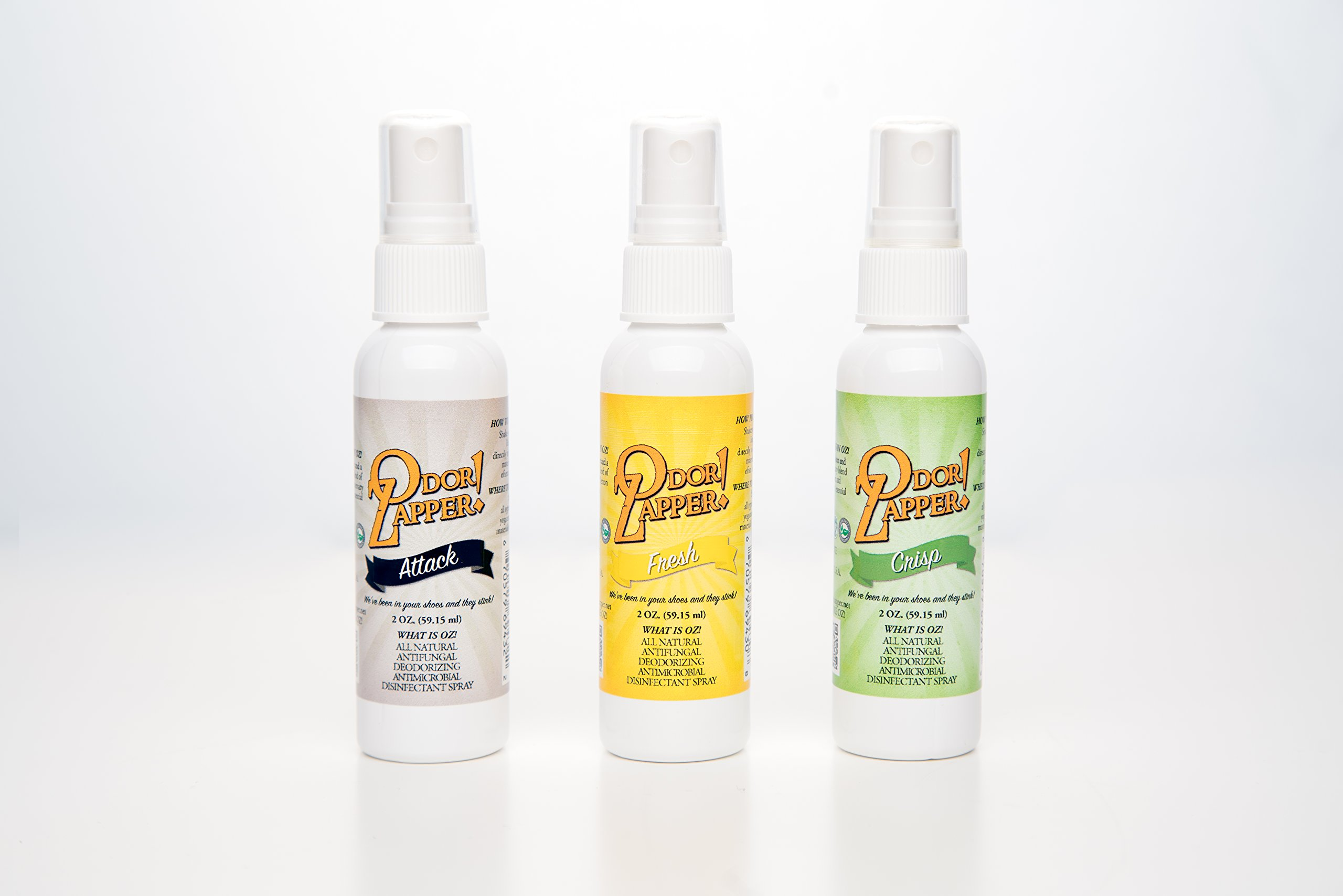 Odor Zapper Disinfectant Spray - For use in Shoes, Gym Bags, Yoga Mats, Kid's Cars and More! - ''Fresh Pack'' - 3 Pack - 2 Ounce Bottles