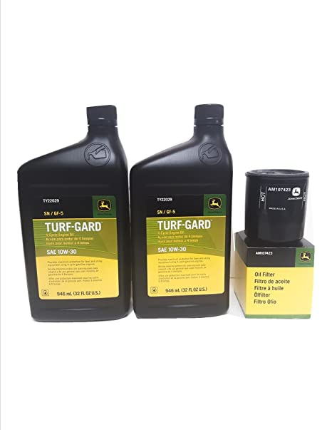 2 Quarts John Deere Turf-Gard SAE 10W-30 Oil Plus AM107423 Filter  Fits  Many Lawn Mowers - Check Description