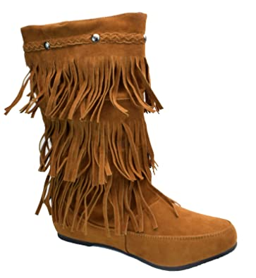 outlet online great look info for Women's Faux Suede Mid Calf Moccasin 3 Layer Fringe Boots Black Chestnut  Gray