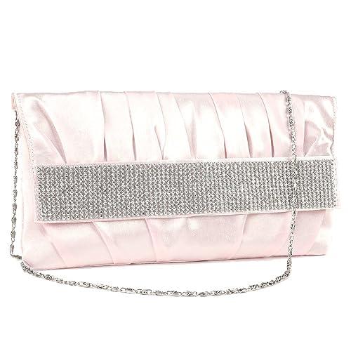 Cartera de Mano Bolso Satén para Fiesta Boda Salir Noche con Diamantes Plástica Color Rosa Claro: Amazon.es: Zapatos y complementos