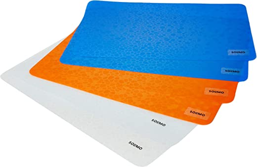 Amazon Brand - Solimo PVC Fridge Multipurpose Mat, Diamonds, Set of 6, Brown, Blue and Orange