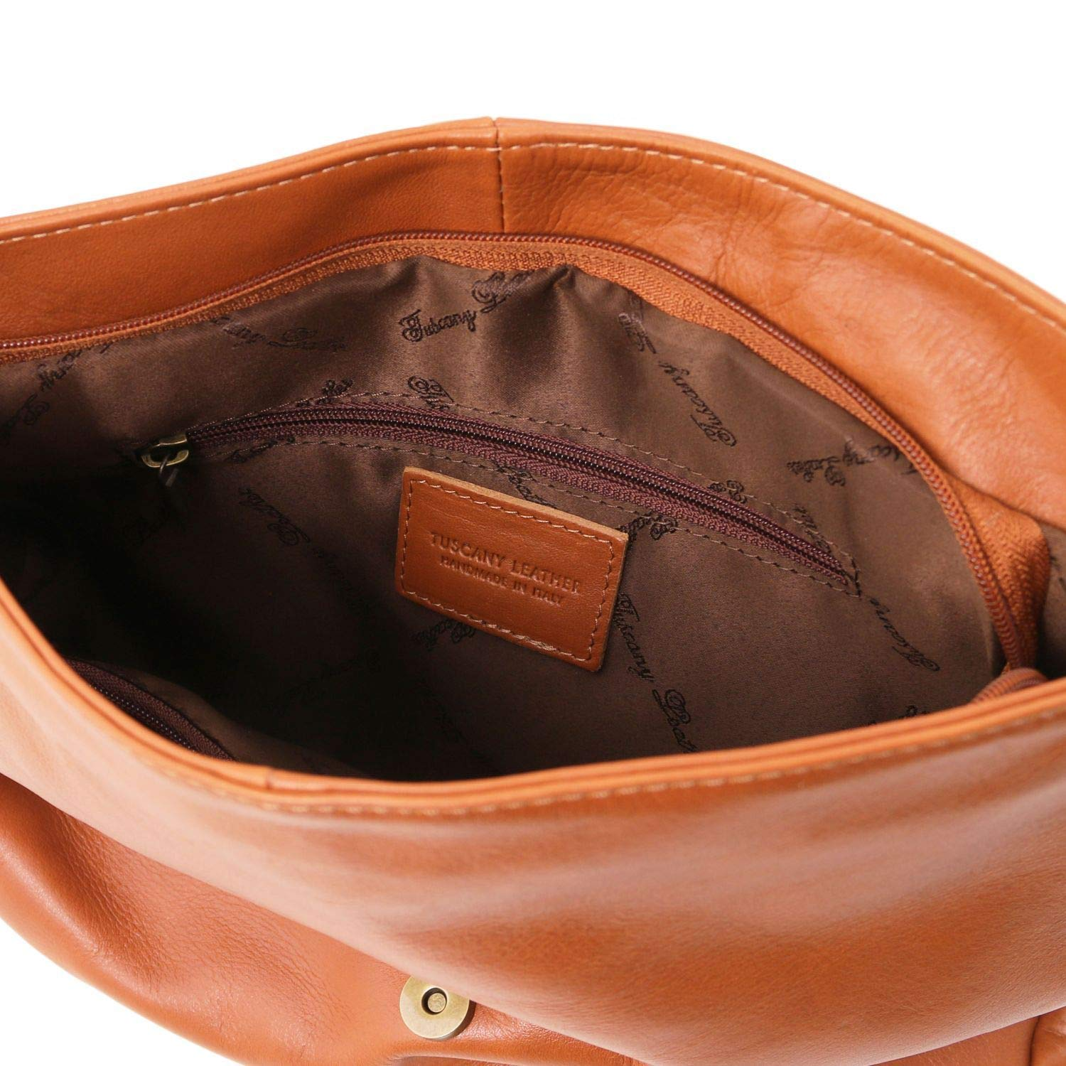 Amazon.com  Tuscany Leather - TL Bag - Soft leather shoulder bag with tassel  detail Cognac - TL141110 6  Fendess. d9adf45eb44f2