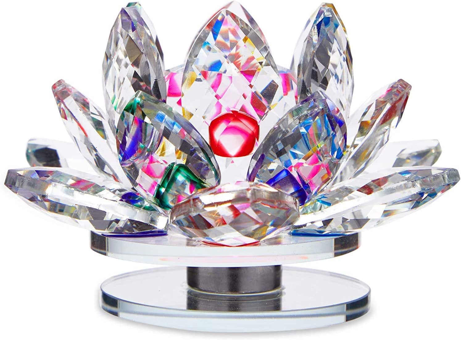 Okuna Outpost Crystal Glass Lotus Flower, Paperweight for Home Decor (4 Inches)