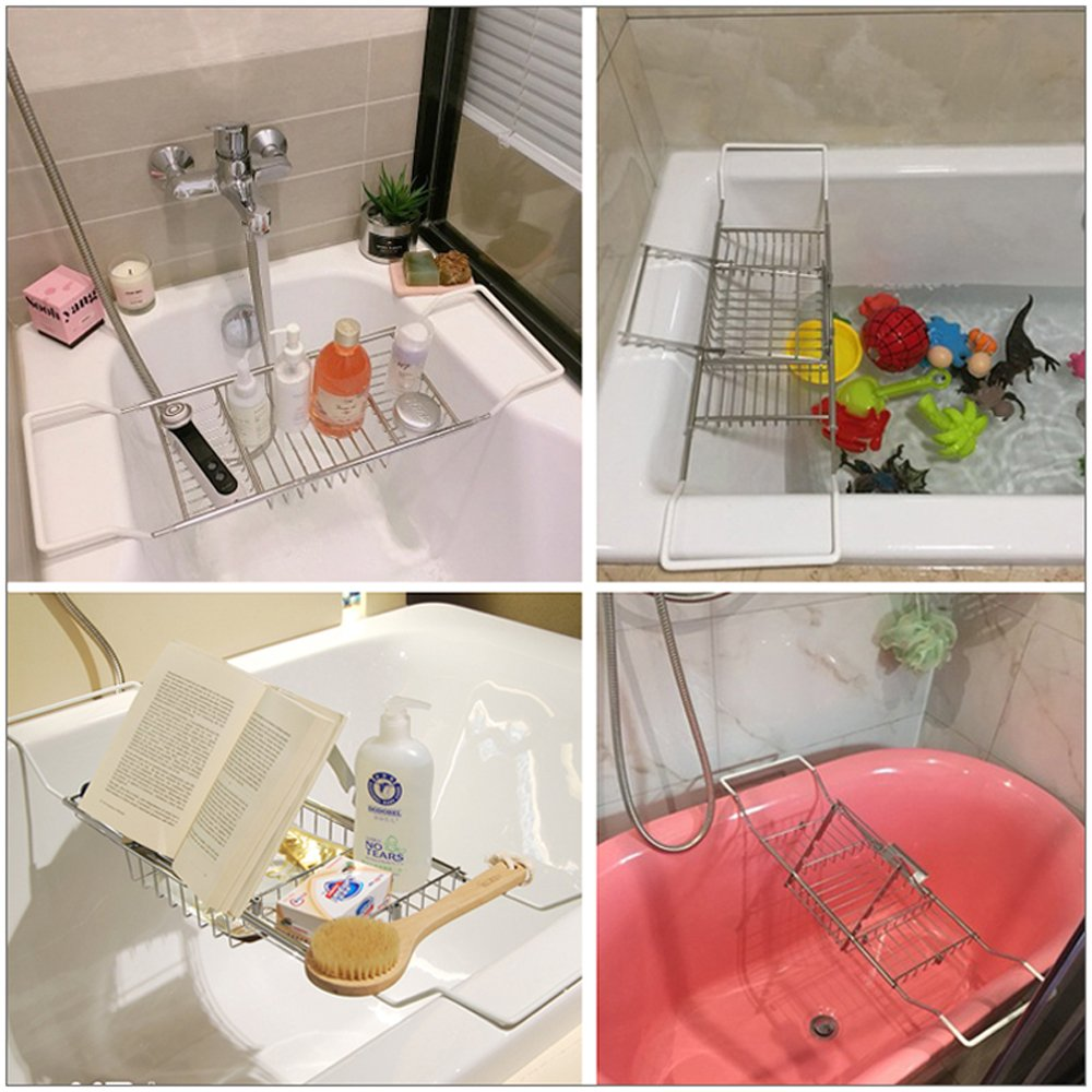 Bathtub Caddy Bath Book Holder Bathroom Bathtub Tray Expandable ...