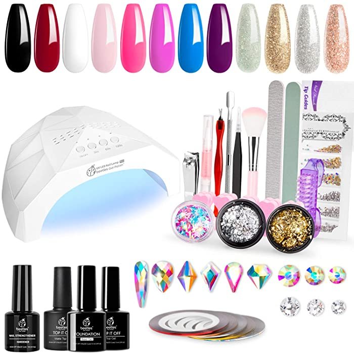 Beetles 12 Colors Home DIY Gel Nail Polish Starter Kit Upgraded 48W UV/LED Light Nail Lamp Gel Base Top Coat Cure White Pink Red Gel Polish Glitter Powder Nail Art Rhinestone Gems Manicure Gift Box
