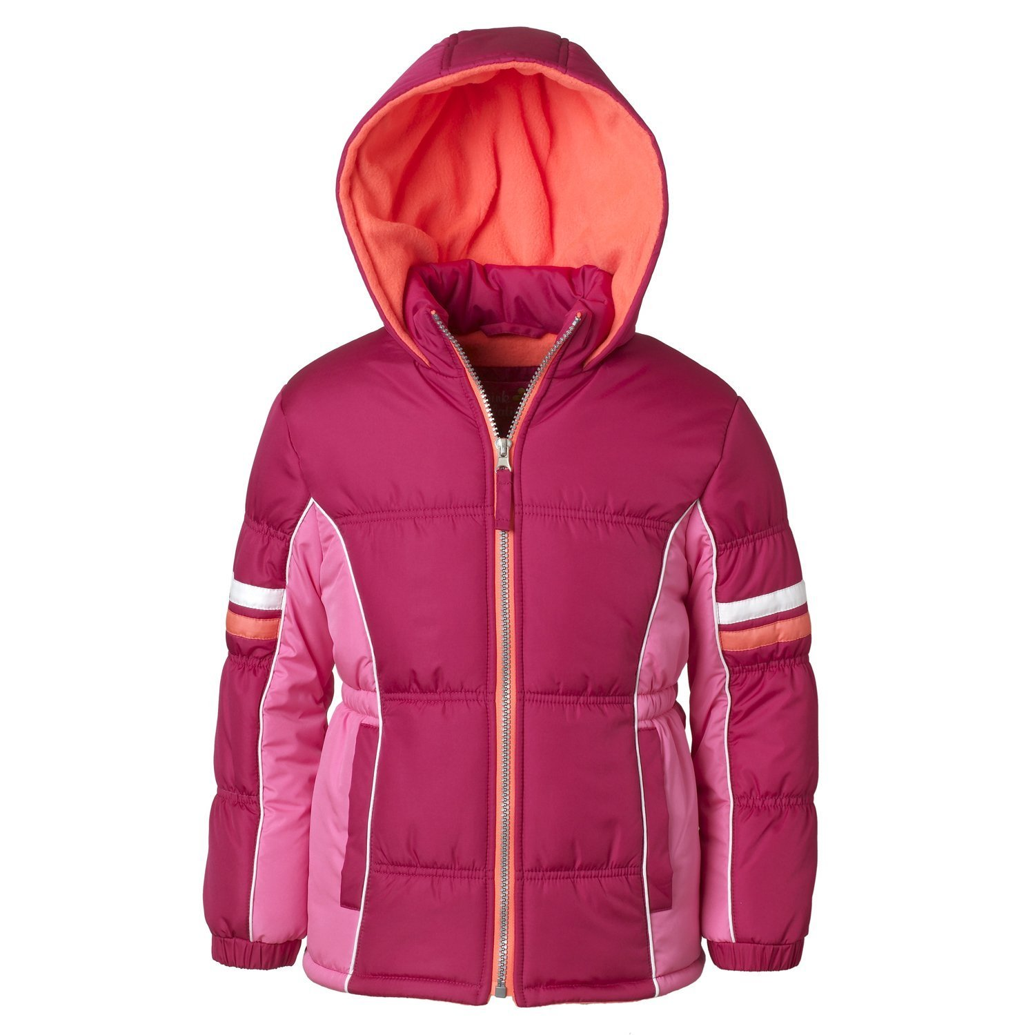 Pink Platinum Puffer Jacket for Girls, Babies & Toddlers with Colorblock Pattern