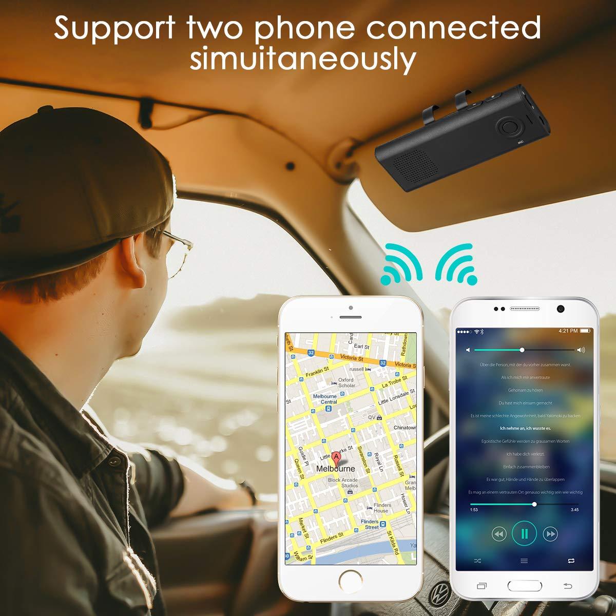 SAWAKE Kit de Visera de Manos Libres, Control Remoto de Voz Compatible con Siri, Encendido automático del Altavoz, Altavoz de Manos Libres en el Coche, ...