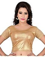 Fressia Fabrics Readymade Gold Stretchable Saree Blouses Women's