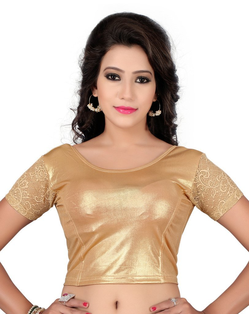 Fressia Fabrics Readymade Gold Stretchable Saree Blouses Women's Gold Free Size