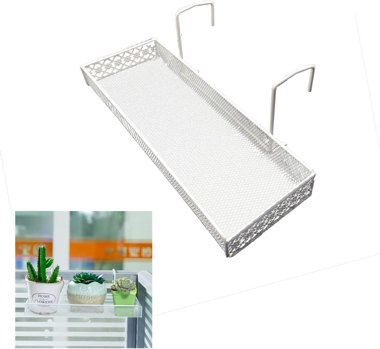 Estante rectangular para plantas de alambre de hierro para exteriores, para terraza, porches, barandas, macetas y más soporte, ahorra espacio en la oficina, cubículo