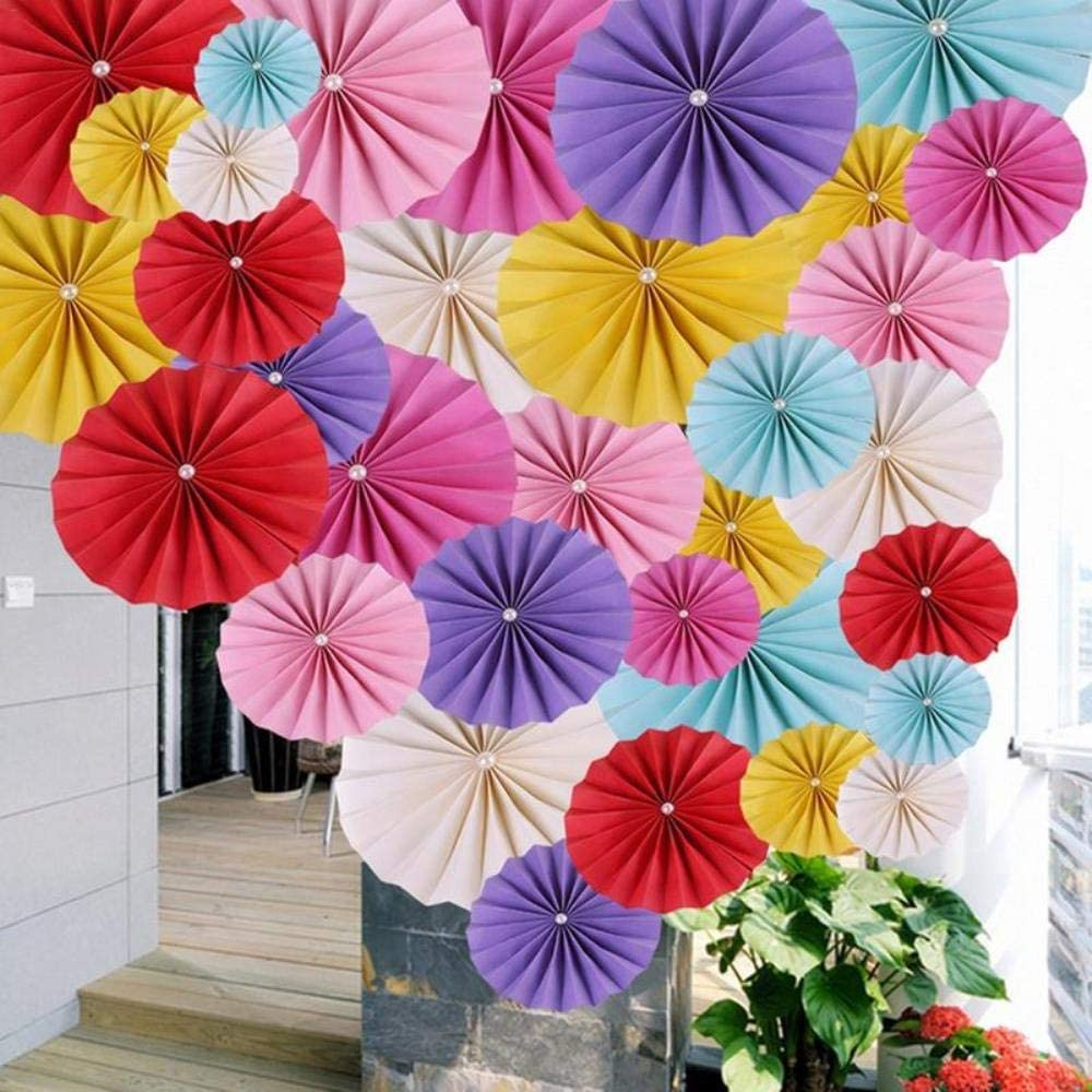 BHG 15CM Paper Fan Flower Handmade Folding Decorative Paper Hanging Fan for Wedding Birthday Party Decoration,K I