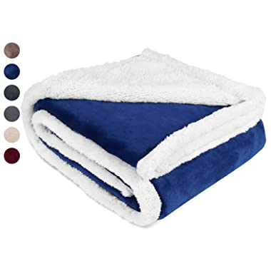 Sherpa/Plush Throw Blanket Blue Throw Size 50  x 60  Bedding Fleece Reversible Blanket for Bed and Couch, Super Soft Comfy Warm Fuzzy TV Blanket