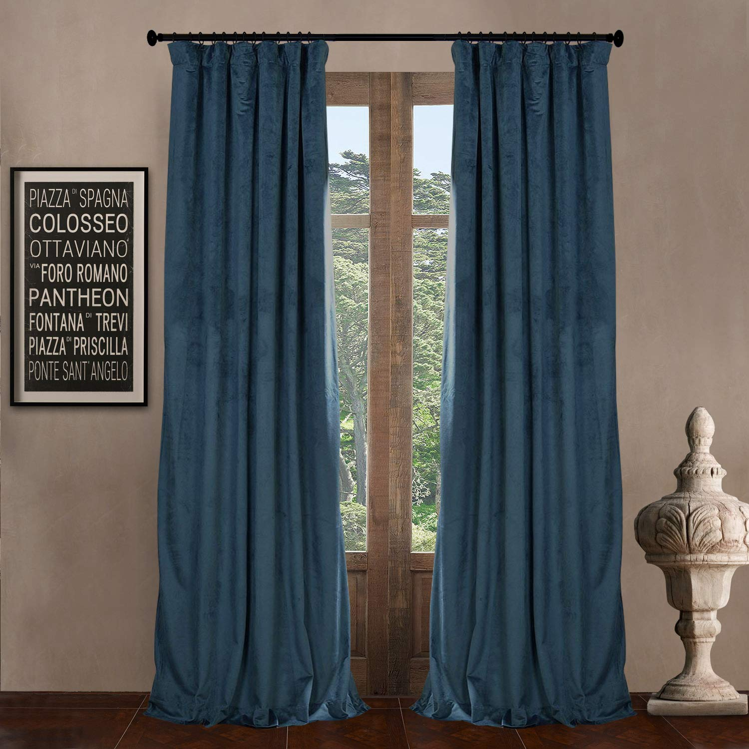Everglade Teal 100  W x 102  L 100  W x 102  L (set of 2 Panels) Pinch Pleat 90% Beige Lining Blackout Velvet Solid Curtain Thermal Insulated Patio Door Curtain Panel Drape For Traverse Rod and Track, Ivory Curtain