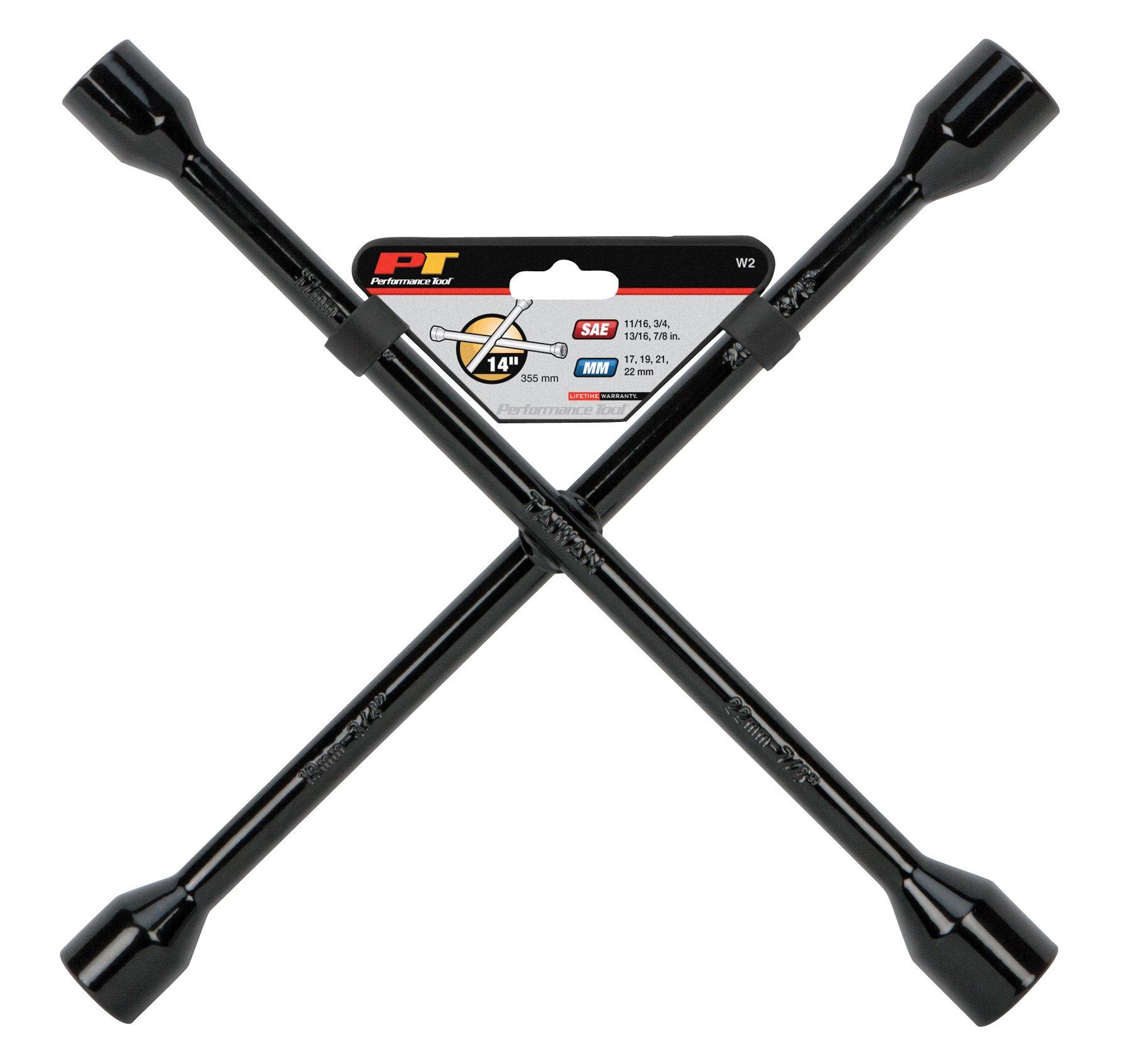 Performance Tool W2 Black 14'' Metric 4-Way Cross Lug Wrench
