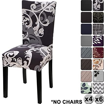 Phenomenal Yisun Modern Stretch Dining Chair Covers Removable Washable Spandex Slipcovers For High Chairs 4 6 Pcs Chair Protective Covers Dark Brown Flower Pdpeps Interior Chair Design Pdpepsorg