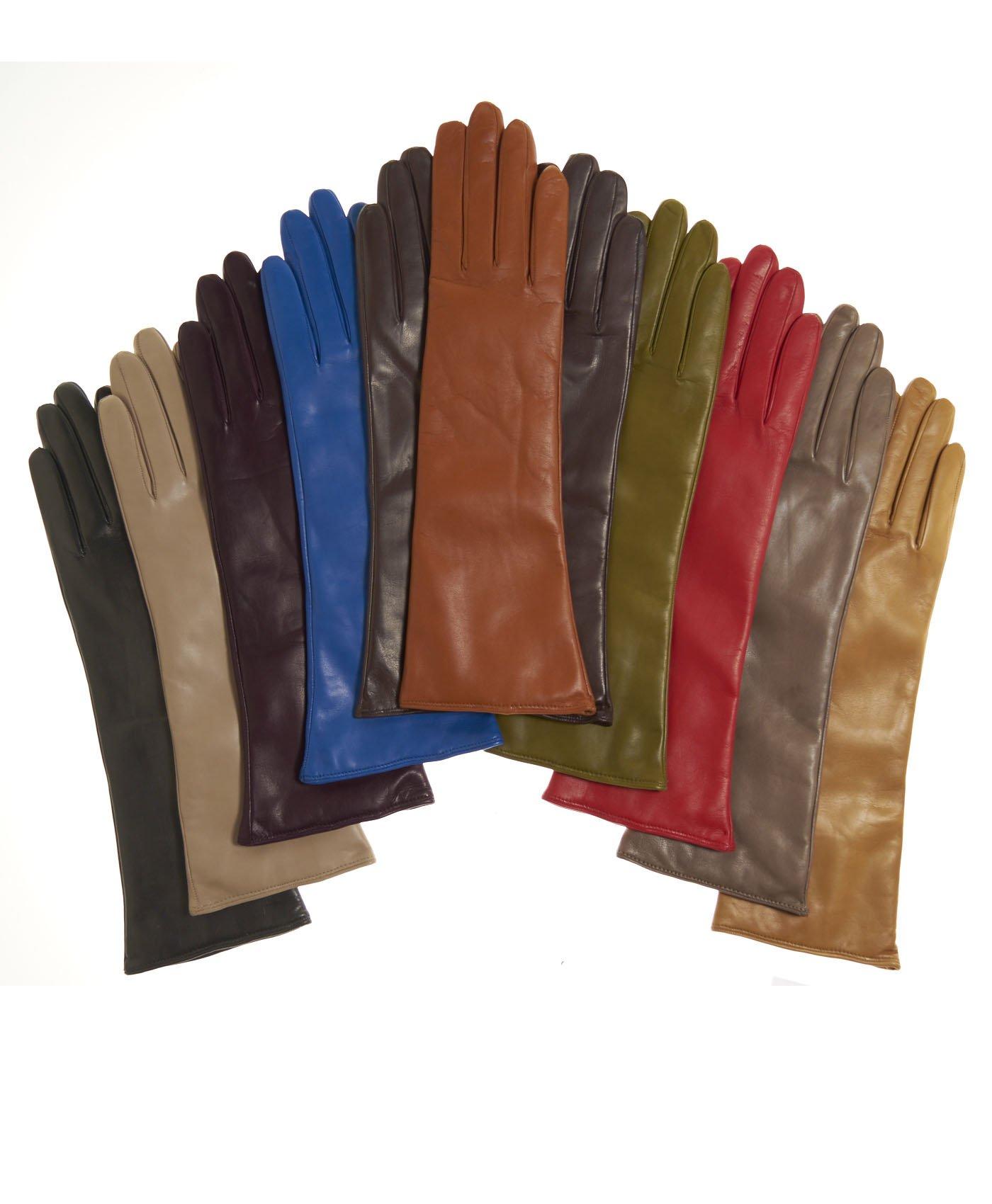 Fratelli Orsini Women's Italian''6 Button Length'' Cashmere Lined Leather Gloves Size 8 Color Black