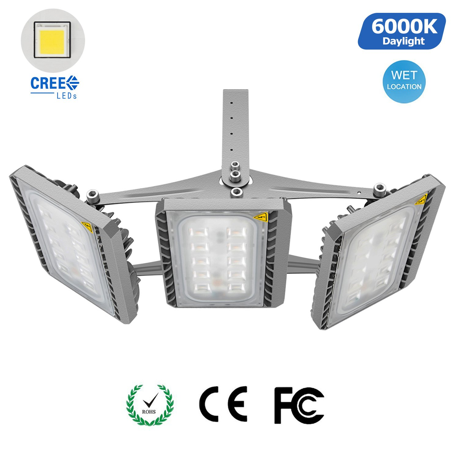 150W LED Flood Light Outdoor, CREE LED Source, 13500lm, 6000K Daylight White, 3-Head Security Lights Waterproof Floodlight