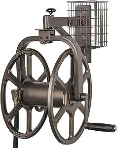 Liberty Garden 712 Single Arm Navigator Multi-Directional Garden Hose Reel, Holds 125-Feet of, 5/8-Inch, Bronze