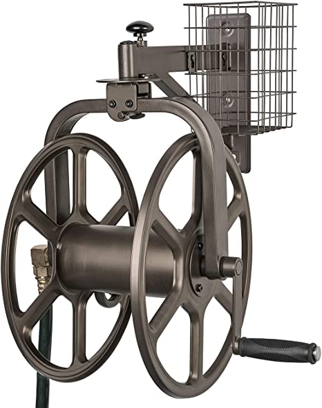 Wall Mount Hose Reel 100 ft Water Hose Storage w Leader Hose Patio Garden