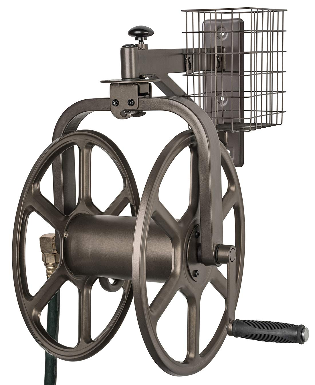 Liberty Garden 712 Single Arm Navigator Multi-Directional Garden Hose Reel, Holds 100-Feet of, 5/8-Inch, Bronze by Liberty Garden Products