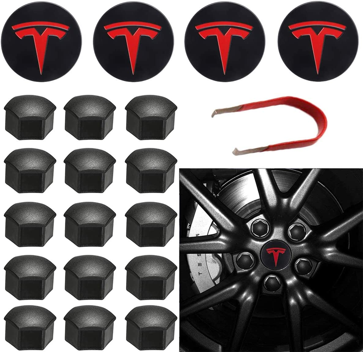 Topfit Model 3 Kit coprimozzo Set coprimozzo Centrale Copridado Dado Coperchio Logo Centrale Modifica Emblema Coprimozzo per Model 3 Model S Model X Red