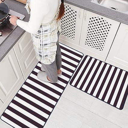 Amazoncom Ustide Black And White Stripe Rugs Washable Non Slip Rug