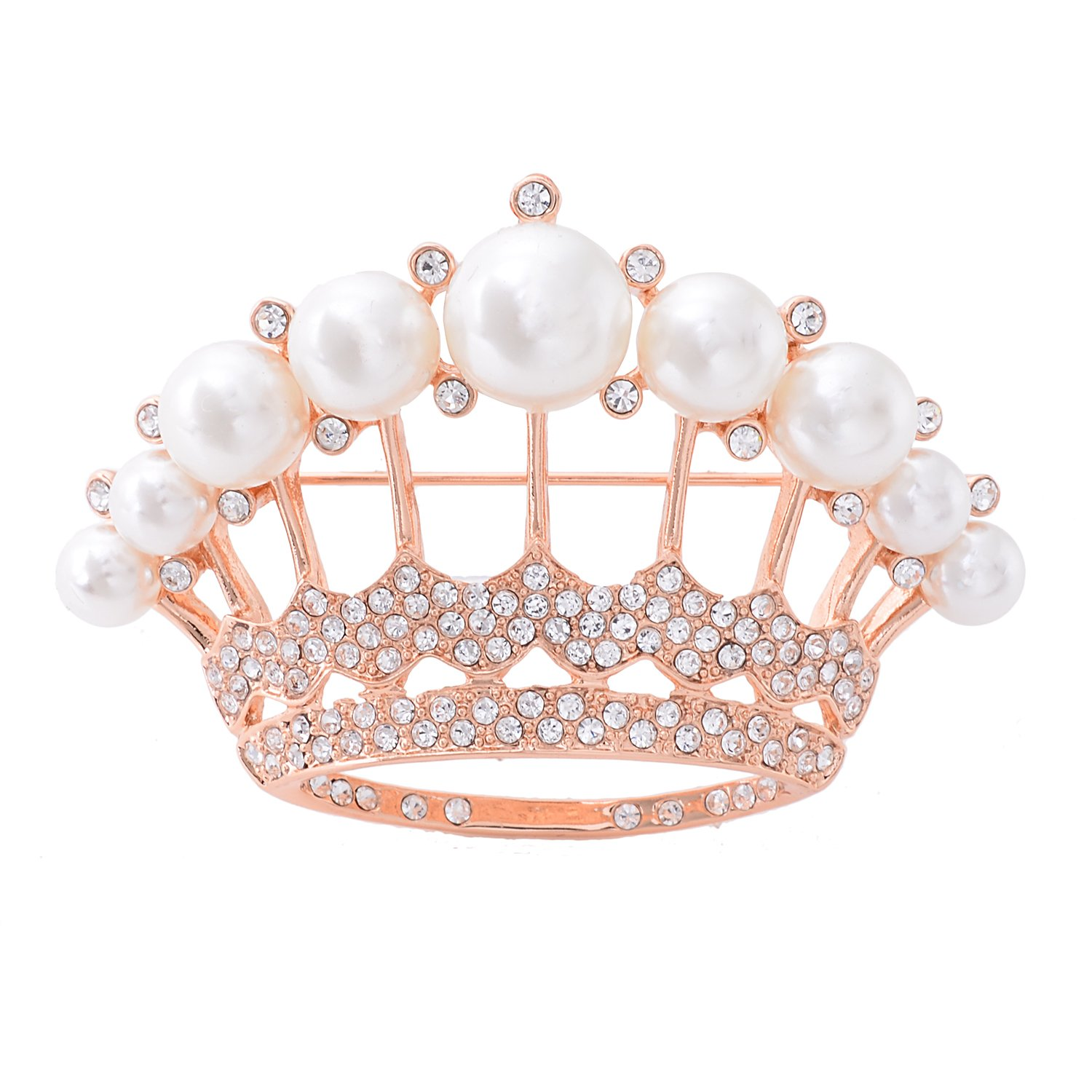 OBONNIE Large Gold Tone Crystal Queen Crown Pin Brooch With Pearl Wedding Bridal Pin (Rose Gold)