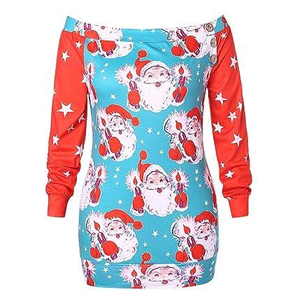 LILICAT® Suéter Azul y Rojo con Estampado navideño en los Hombros Sudadera sin Mangas de