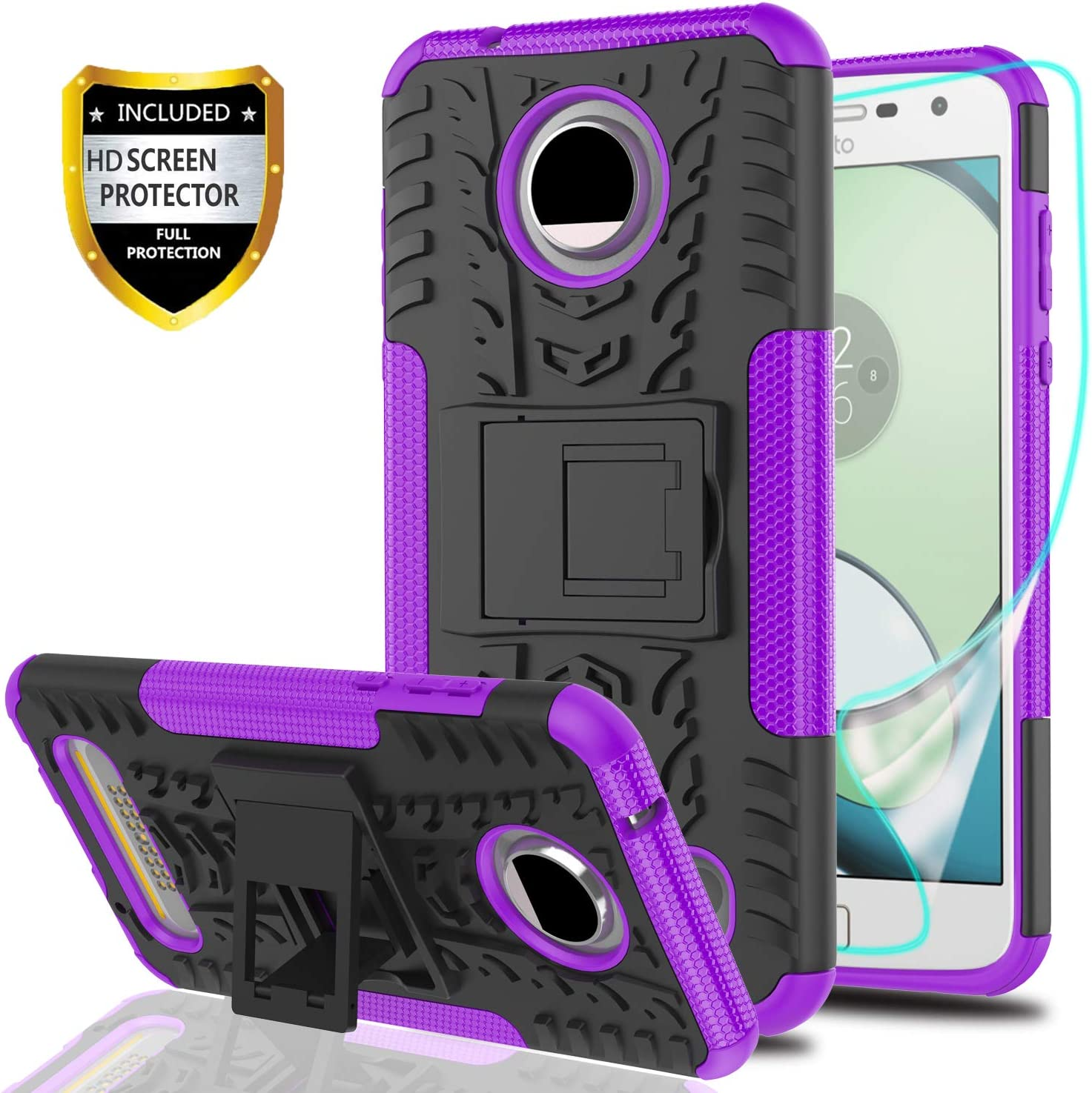 YmhxcY Moto Z2 Play Phone Case with HD Screen Protector,Military Armor Drop Tested [Heavy Duty] Hybrid Case with Kickstand for Motorola Moto Z2 Play Droid-LT Purple