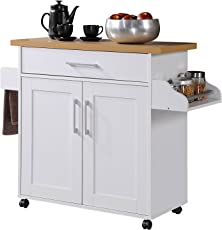 Hodedah Kitchen Island With Spice Rack, Towel Rack U0026amp; Drawer, White With  Beech