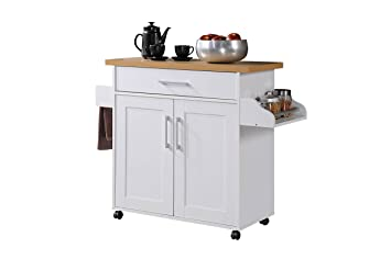 Hodedah Kitchen Island With Spice Rack, Towel Rack U0026 Drawer, White With  Beech Top