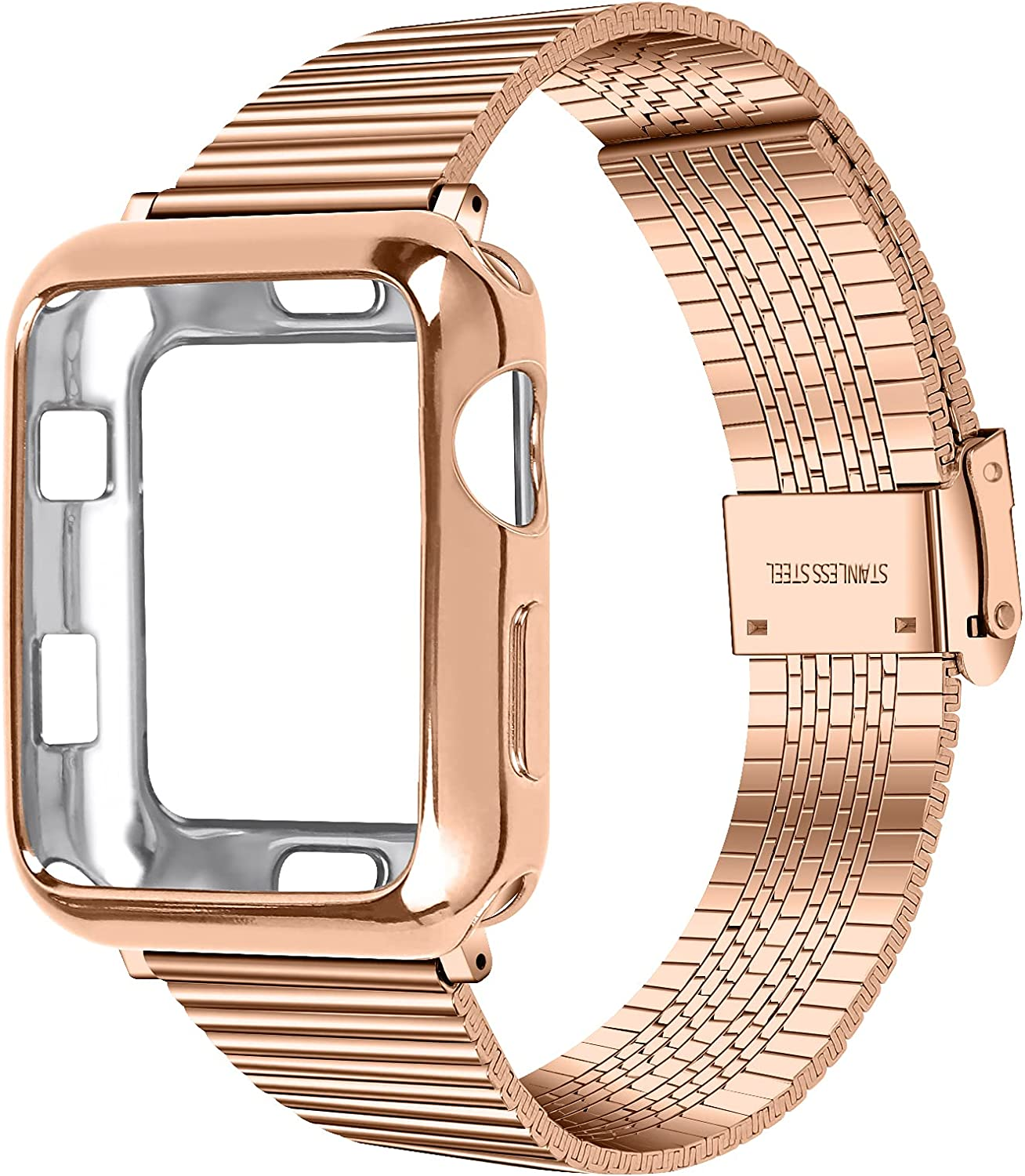 JANSIN Compatible with Apple Watch Band 40mm 44mm 38mm 42mm, upgraded Stainless Steel Band with Protective case for iwatch Series 6/SE/5/4/3/2/1