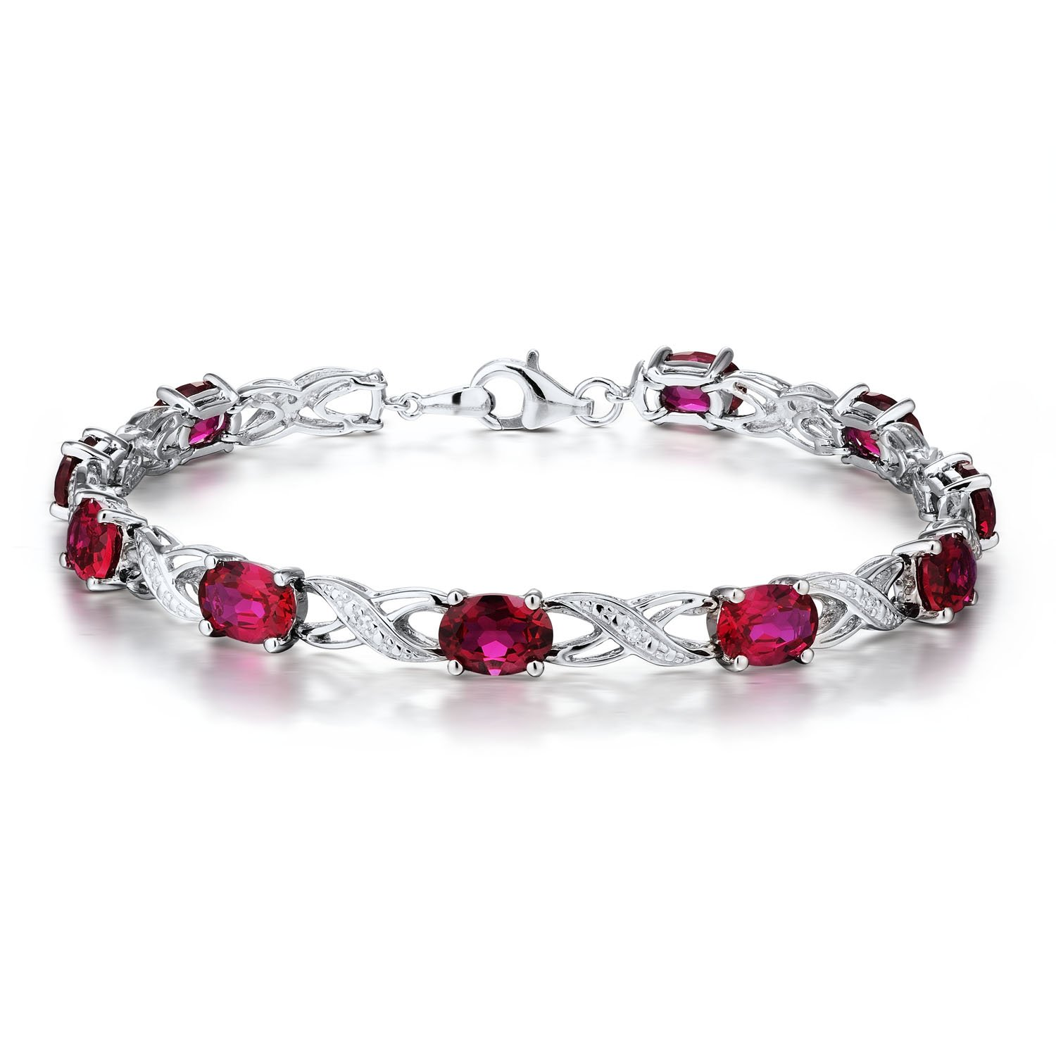 Created Ruby Bracelet with Diamond Accents in Rhodium Plated Sterling Silver