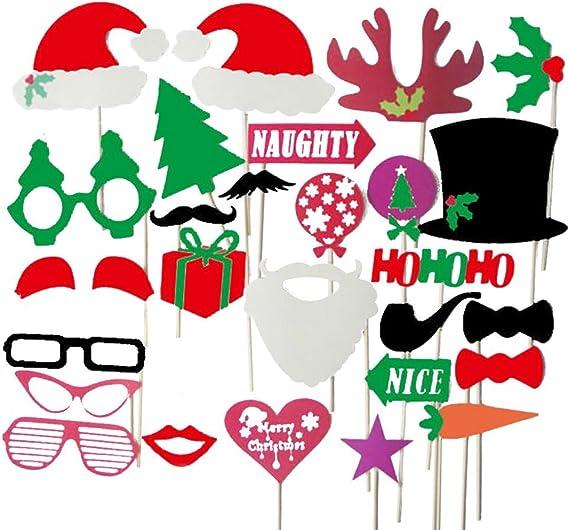 Kentop 28pcs Photo Booth Photocall Foto Apoyos con Accesorios Decoracion para Navidad