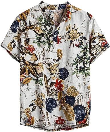 HoSayLike Blusa Hombre Casual ÉTnico AlgodóN Y Lino ImpresióN Manga Corta Hawaiano Tops Camisas De Playa Camisa Camisas Corta Hombre Ropa Estampada De Verano M-XXXL: Amazon.es: Ropa y accesorios